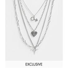 Reclaimed Vintage inspired– Packung mehrlagiger Halsketten mit Anhängern in poliertem Silber – EXKLUSIV NUR BEI ASOS!