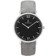 """Kapten & Son Uhr """"Black Grey Vintage Leather"""" - Silber & Leder in Grau - 36 & 40 mm"""