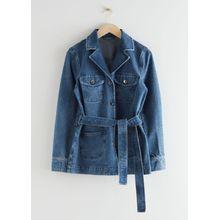 Belted Denim Jacket - Blue