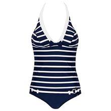 bugatti® marineblau / weiß gestreifter Damen Neckholder-Tankini in Größe 38 B