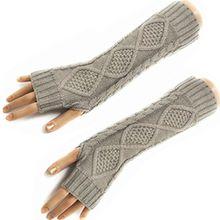 HITOP Damen Accessory Trendige Quilted Thread gestrickte fingerlose Armstulpen Feinstrick lang Pulswärmer Handwärmer Stulpen (grau)