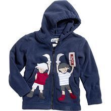 Playshoes Unisex - Kinder Jacke Kuschlige Fleece-Jacke mit Kapuze, Motivapplikationen und Reflektorstreifen, Art. 420013, Gr. 92, Blau (11 marine)