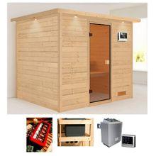KARIBU Sauna »Karla«, 259x210x202 cm, 9 kW Ofen mit ext. Steuerung, Dachkranz