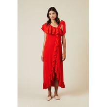 Ganni Midi-Kleid 'Clark' Rot