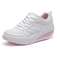 SAGUARO Keilabsatz Plateau Sneaker Mesh Erhöhte Schnürer Sportschuhe Laufschuhe Freizeitschuhe für Damen Rosa 35 EU