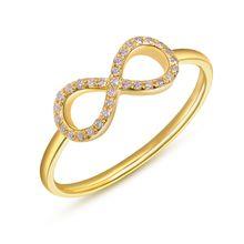 Infinityring mit Diamanten, 18 K Gelbgold