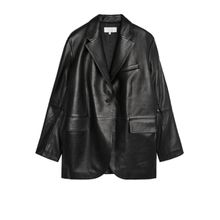 Oversized Leather Blazer - Black