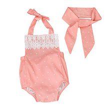 sunnymi Baby Mädchen 2 Tlg Lace Bowknot Jumpsuit Stirnband Kostüm Für 3-18 Monat Outfits Kleidung (Rosa, 3 Monat)