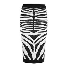 Fast Fashion Midi Bleistiftrock Damen Promi Inspiriert Zebradruck