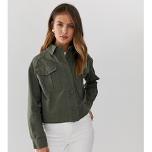 New Look - Kurz geschnittene Utility-Hemdjacke in Khaki - Grün