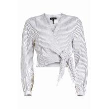 Rag & Bone Gestreifte Bluse Prescot in Wickeloptik aus Baumwolle und Leinen