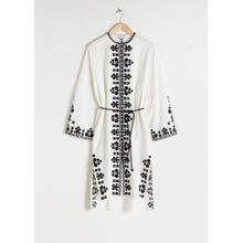Embroidered Cotton Kaftan - White