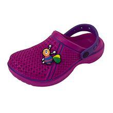 ACO Kinder Clogs Pantoletten Hausschuhe Badeschuhe Sandalen mit Sticker Gr. 28-33 (28, Rosa)