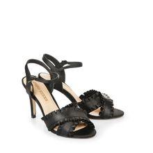 Buffalo Satin-Sandalette in schwarz mit Rüschen