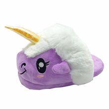 Unicorn Einhorn Plüsch Hausschuhe Pantoffeln Schuhe für Kinder / Erwachsene (Purple)