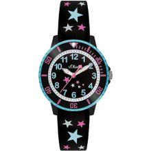 S.Oliver Junior Uhr neonblau / pink / schwarz / weiß