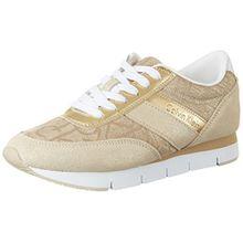 Calvin Klein Jeans Damen Tea Metallic Jacquard/Suede Sneakers, Gold (GOL), 38 EU