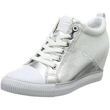 Calvin Klein Jeans Damen Rory Metal Canvas/Flocking Hohe Sneaker, Silber (SVW 000), 38 EU