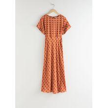 Short Sleeve Printed Maxi Dress - Orange