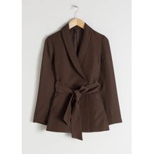 Belted Long Fit Blazer - Brown