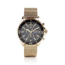 Chronograph aus goldfarbenem Edelstahl mit Mesh-Armband