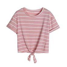 KEERADS T-shirt Damen Sommer Bauchfrei Gestreift Crop Tops Streifen Oberteile Bluse Shirt (S, Rosa)