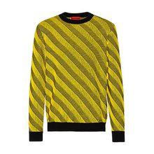 Pullover aus Schurwolle mit diagonalen Jacquard-Streifen