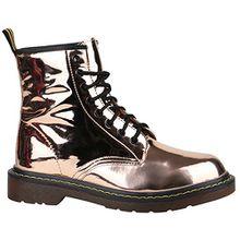Damen Stiefeletten Worker Boots Lack Profilsohle Boots Schuhe 150329 Rose Gold Brito 38 Flandell
