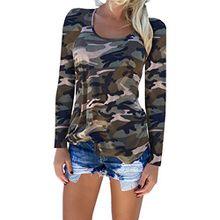 Damen Camouflage Langarmshirts - Rundhalsblusen Herbst Winter T-Shirts Frauen Hemden Lässig Täglich Sport Grün Grau Violett Rot Blau S-2XL Yying