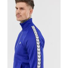 Fred Perry Sport graphic taped track jacket in blue - Blau