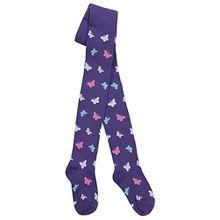 I2i Mädchen-Strumpfhosen aus Baumwolle, bunte Musterung Gr. 3-4 Jahre, violettfarbener schmetterling