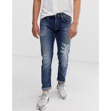 Replay - Grover - Gerade geschnittene Rip & Repair Jeans in Super-Stretch - Schwarz