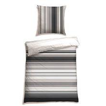Schiesser Satin Bettwäsche Combination Stripes schwarz weiß / 100% Baumwolle / in versch. Größen erhältlich, Größe:135 cm x 200 cm