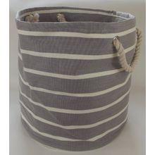 Große und weiche Rundsteckverbinder Faltbeutel für Bettwäsche, Wäsche, Wäsche und Spielzeug Lagerung. Hellgrau und Creme Muster