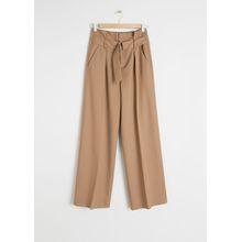 Wool Blend Belted Trousers - Beige