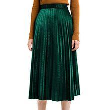 Choies Damen Plisseerock Samt Winterrock Lang Gummibund Vintage Hohe Taille Falten A-Linie Röcke Grün ONESIZE