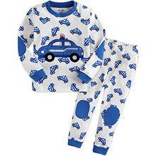 Vaenait Baby Kinder Jungen Nachtwaesche Schlafanzug-Top Bottom 2 Stueck Set Blue Car L