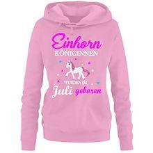 Einhorn Königinnen wurden im Juli geboren ! Damen HOODIE Sweatshirt mit Kapuze Pink, Gr.XXL