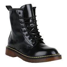 Stiefelparadies Coole Worker Boots Kinder Outdoor Stiefeletten Profil Sohle Schuhe 149021 Schwarz Camiri Lack 37 Flandell