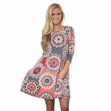 Damen Kleider Xinan Retro Nationale Wind Hals Kleid Lose Strand Tunika kleid Bluse Kleider Strandtunika Sommerkleid (L, Rosa Sexy)
