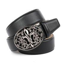 Anthoni Crown Ledergürtel mit Lilien Schließe Ledergürtel schwarz Damen