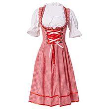 Manfis Trachtenmode Damen Trachtenkleid Dirndl mit Bluse und Schürze Oktoberfest 3 teilig Rot 34