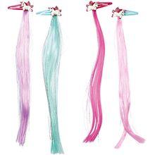 Haarclips mit Glitzersträhnen Einhorn-Paradies, 4 Haarclips Mädchen Kinder