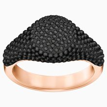 Stone Signet Ring, schwarz, Rosé vergoldet