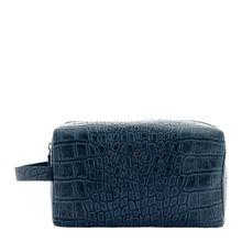 Braun Büffel Kulturtasche LISBOA mit Reptilien-Optik Kulturbeutel blau Herren