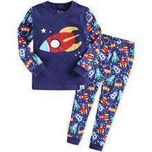 Vaenait Baby Kinder Jungen Nachtwaesche Schlafanzug-Top Bottom 2 Stueck Set Little Rocket M