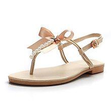 Minetom Damen Mädchen Sommer Flache Sandalen mit Schleife und Weiße Perlen T-Riemen Zehentrenner Sandaletten Peep Toe Schuhe (EU 37, Beige)
