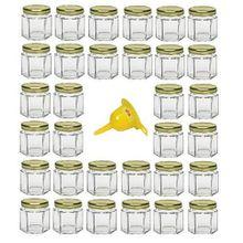 Viva Haushaltswaren 32 x Mini Einmachglas 47 ml mit goldfarbenem Deckel, sechseckige Glasdosen als Marmeladengläser, Gewürzdosen, Gastgeschenk etc. verwendbar (inkl. Trichter Ø 12,3 cm)