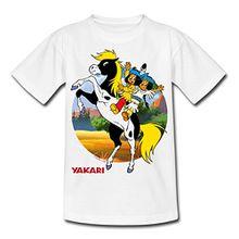 Spreadshirt Yakari Kleiner Donner Kinder T-Shirt, 110/116 (5-6 Jahre), Weiß