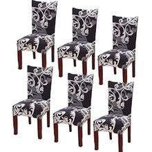 YISUN Universal Stretch Stuhlhussen 4er 6er Set Stuhlbezug für Stuhl Esszimmer Schwarzes Blumenmuster